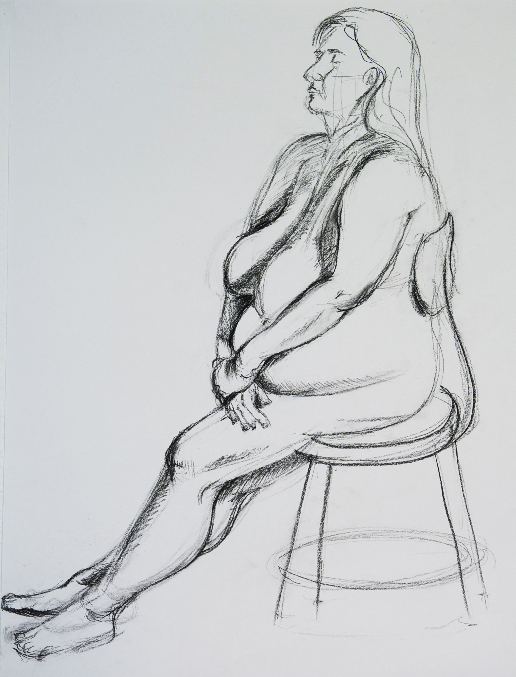 Figure drawing female model charcoal pencil on drawing paper