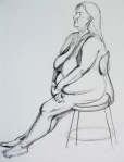 figure drawing, female model, charcoal pencil on drawing paper