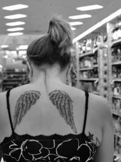 wings tatto, street photography, back, girl, grocery store