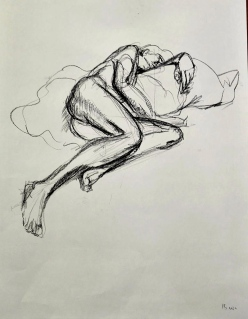 figure drawing, male model, charcoal pencil on drawing paper, 15 minutes
