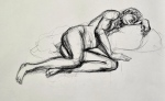 figure drawing, male model, charcoal pencil on drawing paper, 20 minutes