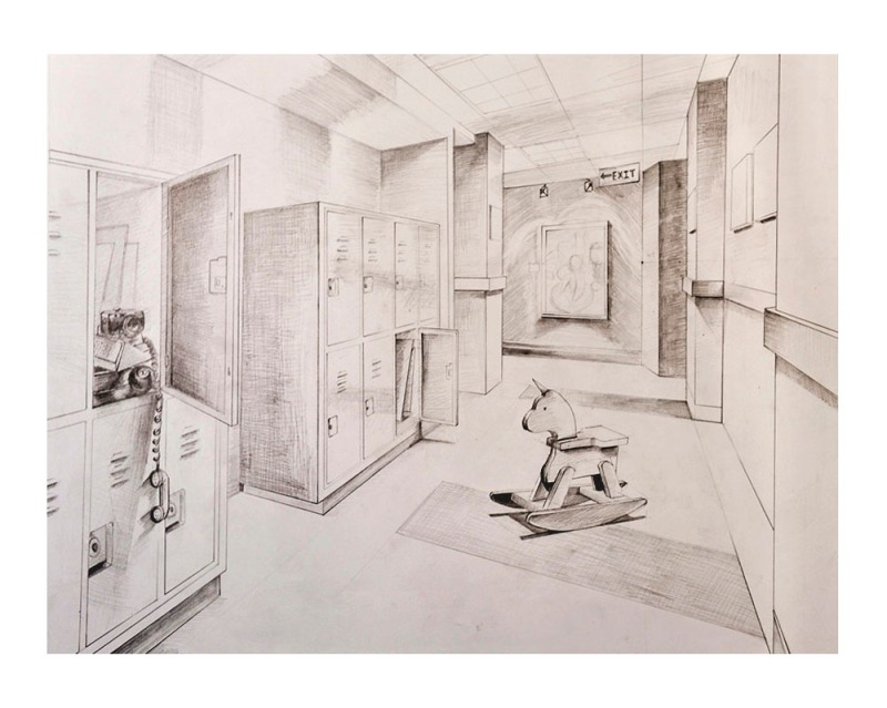 Linear Perspective Drawing, Graphite Pencil on Drawing Paper